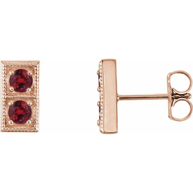Chatham Created Ruby Earrings in 14 Karat Rose Gold Chatham Created RubyTwo-Stone Earrings