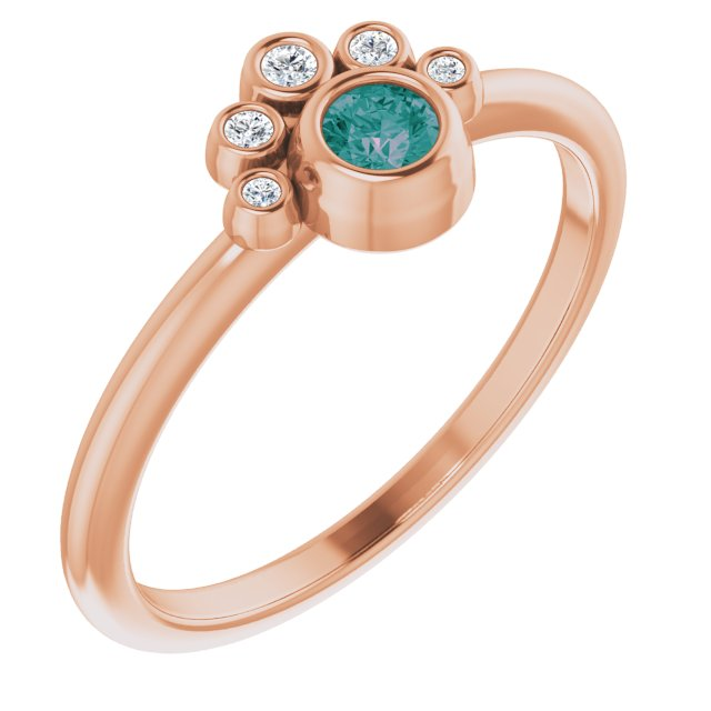 Chatham Created Alexandrite Ring in 14 Karat Rose Gold Chatham Lab-Created Alexandrite & .04 Carat Diamond Ring
