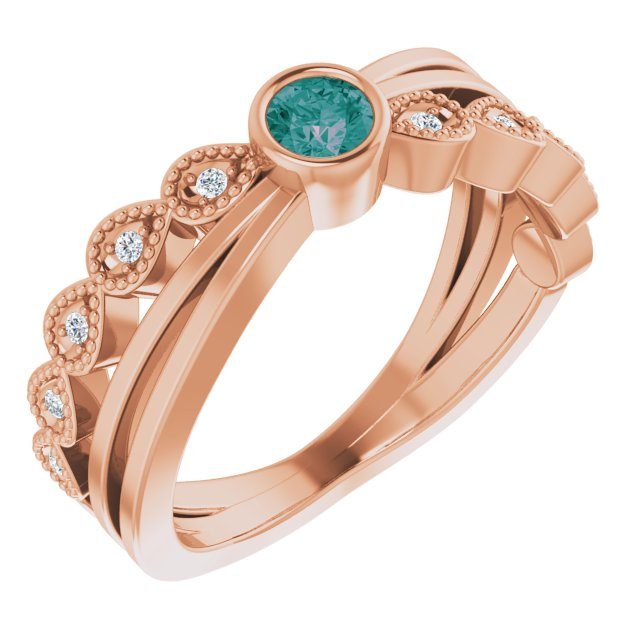 Chatham Created Alexandrite Ring in 14 Karat Rose Gold Chatham Lab-Created Alexandrite & .05 Carat Diamond Ring