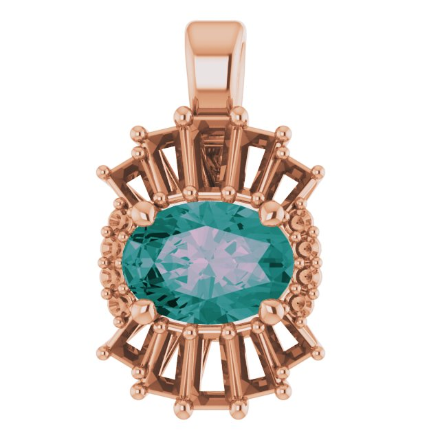 Color Change Chatham Created Alexandrite Pendant in 14 Karat Rose Gold Chatham Lab-Created Alexandrite & 1/3 Carat Diamond Pendant