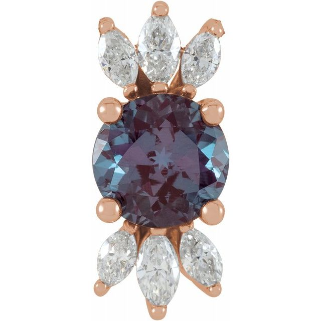 Color Change Chatham Created Alexandrite Pendant in 14 Karat Rose Gold Chatham Lab-Created Alexandrite & 1/4 Carat Diamond 16-18