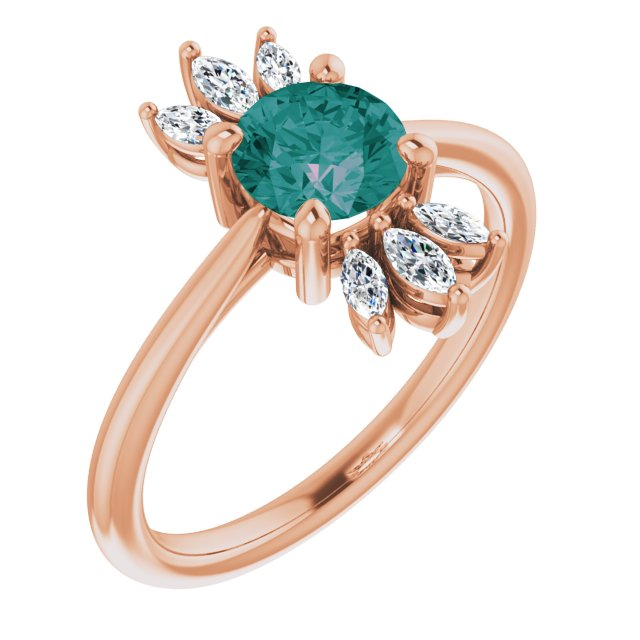 Chatham Created Alexandrite Ring in 14 Karat Rose Gold Chatham Lab-Created Alexandrite & 1/4 Carat Diamond Ring