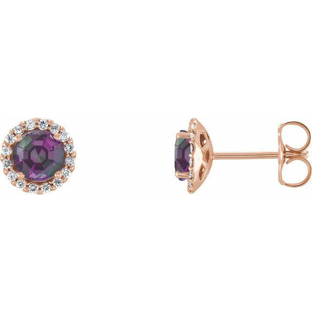 Genuine Chatham Created Alexandrite Earrings in 14 Karat Rose Gold Chatham Lab-Created Alexandrite & 1/5 Carat Diamond Earrings