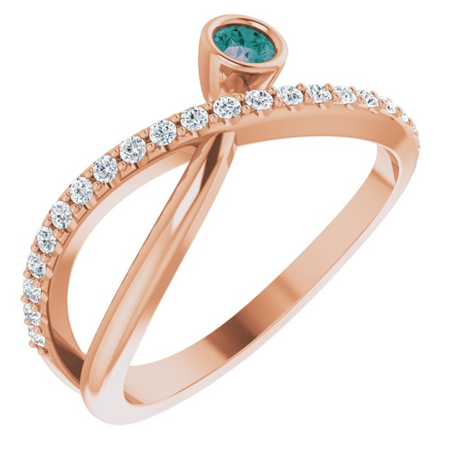 Chatham Created Alexandrite Ring in 14 Karat Rose Gold Chatham Lab-Created Alexandrite & 1/5 Carat Diamond Ring