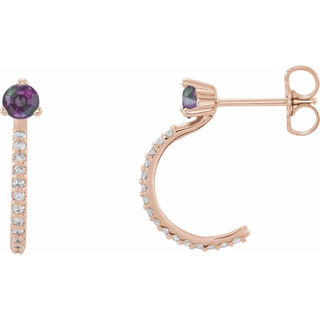 Genuine Chatham Created Alexandrite Earrings in 14 Karat Rose Gold Chatham Lab-Created Alexandrite & 1/6 Carat Diamond Hoop Earrings