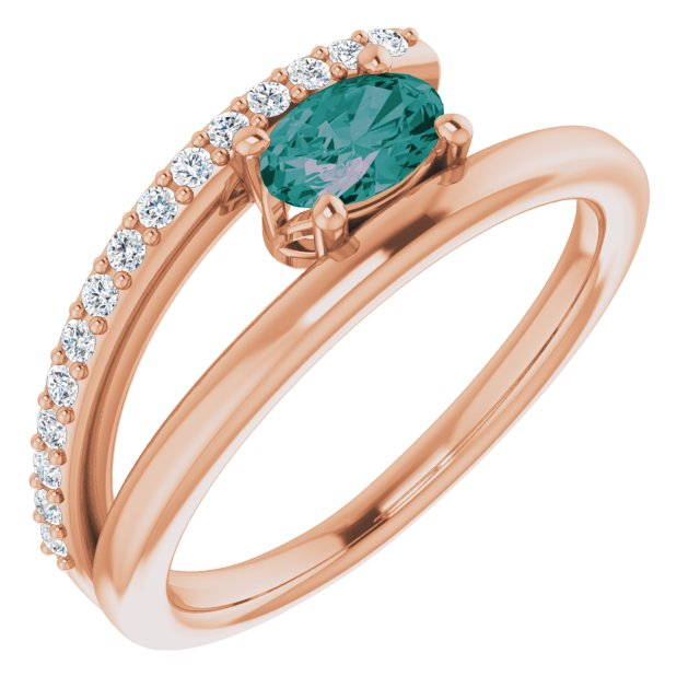 Chatham Created Alexandrite Ring in 14 Karat Rose Gold Chatham Lab-Created Alexandrite & 1/8 Carat Diamond Ring