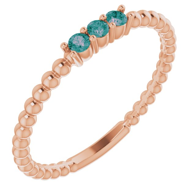 Chatham Created Alexandrite Ring in 14 Karat Rose Gold ChathamLab-Created Alexandrite Beaded Ring