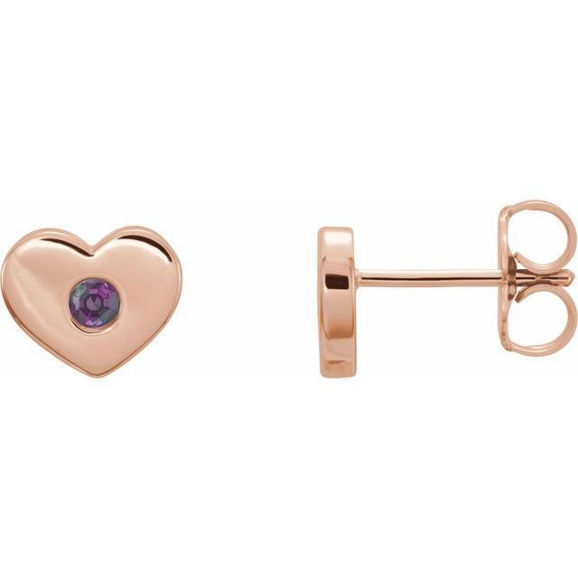 Genuine Chatham Created Alexandrite Earrings in 14 Karat Rose Gold Chatham Lab-Created Alexandrite Heart Earrings