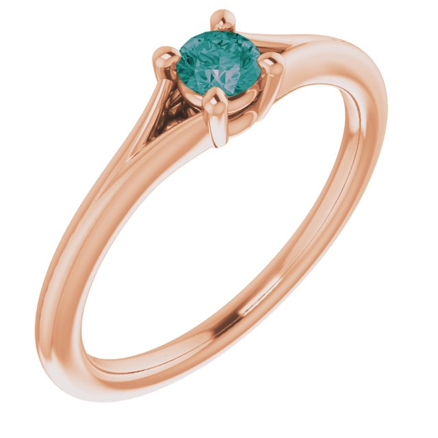 Chatham Created Alexandrite Ring in 14 Karat Rose Gold Chatham Lab-Created Alexandrite Youth Solitaire Ring