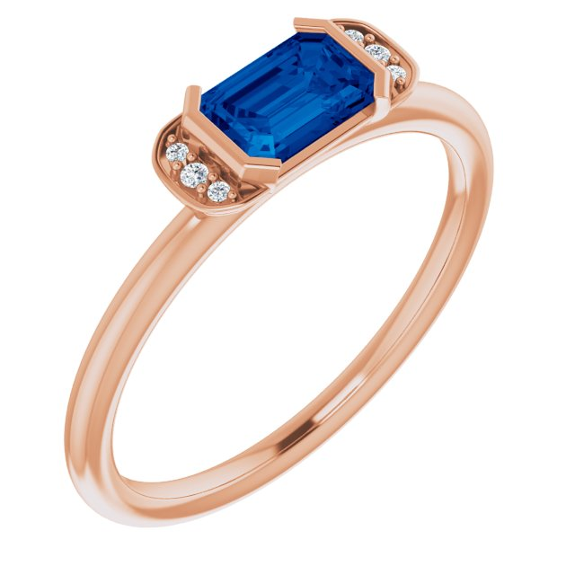 Genuine Chatham Created Sapphire Ring in 14 Karat Rose Gold Chatham Lab-Created Genuine Sapphire & .02 Carat Diamond Ring