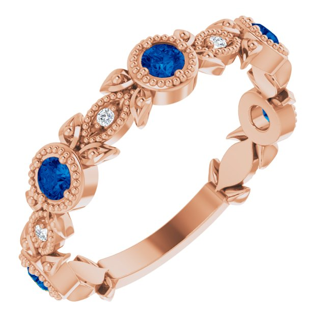Genuine Chatham Created Sapphire Ring in 14 Karat Rose Gold Chatham Lab-Created Genuine Sapphire & .03 Carat Diamond Ring
