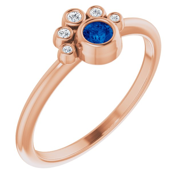 Genuine Chatham Created Sapphire Ring in 14 Karat Rose Gold Chatham Lab-Created Genuine Sapphire & .04 Carat Diamond Ring