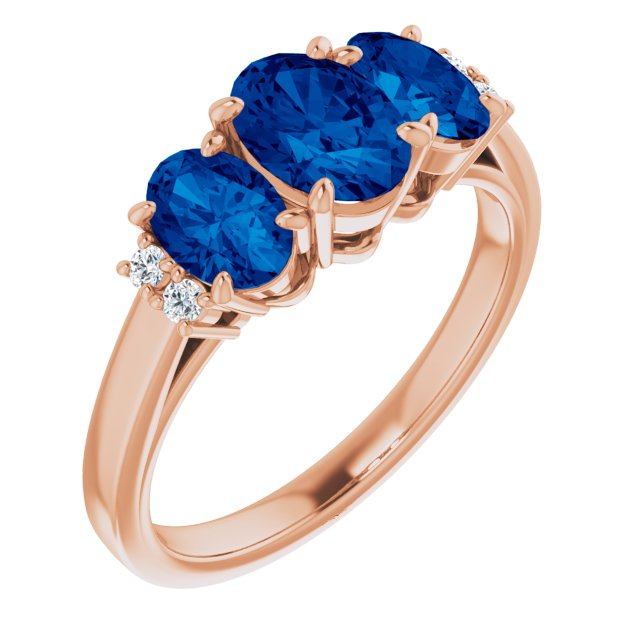 Genuine Created Sapphire Ring in 14 Karat Rose Gold Chatham Lab-Created Genuine Sapphire & .05 Carat Diamond Ring
