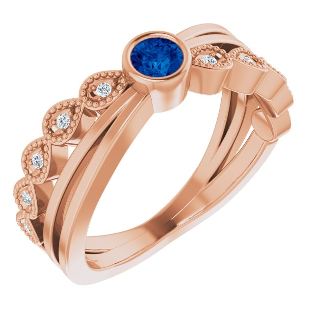 Genuine Chatham Created Sapphire Ring in 14 Karat Rose Gold Chatham Lab-Created Genuine Sapphire & .05 Carat Diamond Ring