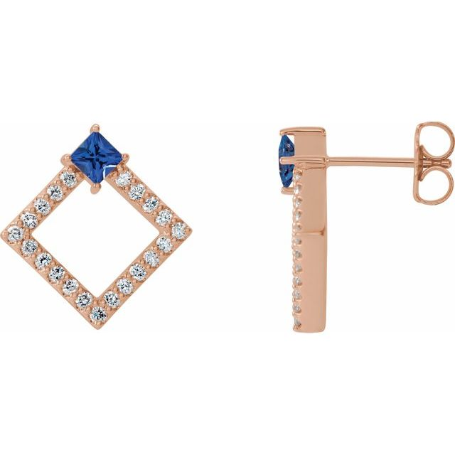 Created Sapphire Earrings in 14 Karat Rose Gold Chatham Lab-Created Genuine Sapphire & 1/3 Carat Diamond Earrings