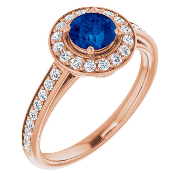 Genuine Chatham Created Sapphire Ring in 14 Karat Rose Gold Chatham Lab-Created Genuine Sapphire & 1/3 Carat Diamond Ring