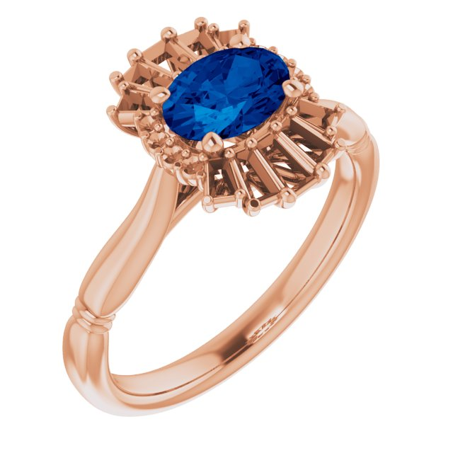 Genuine Chatham Created Sapphire Ring in 14 Karat Rose Gold Chatham Lab-Created Genuine Sapphire & 1/4 Carat Diamond Ring