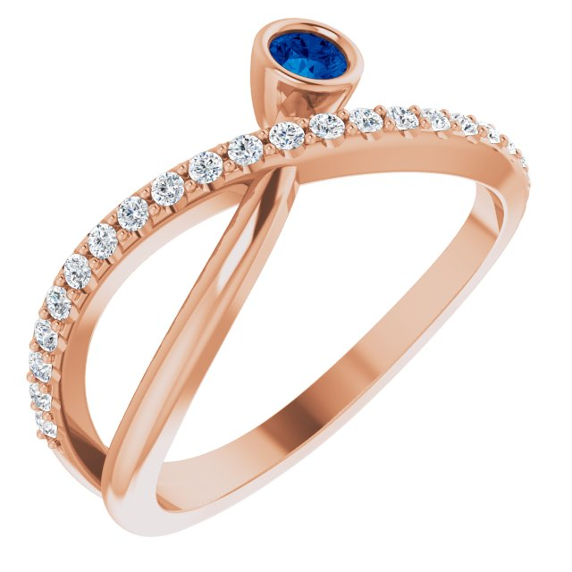 Genuine Chatham Created Sapphire Ring in 14 Karat Rose Gold Chatham Lab-Created Genuine Sapphire & 1/5 Carat Diamond Ring