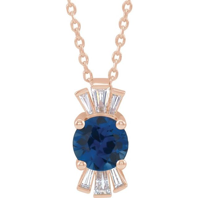 Genuine Chatham Created Sapphire Necklace in 14 Karat Rose Gold Chatham Lab-Created Genuine Sapphire & 1/6 Carat Diamond 16-18