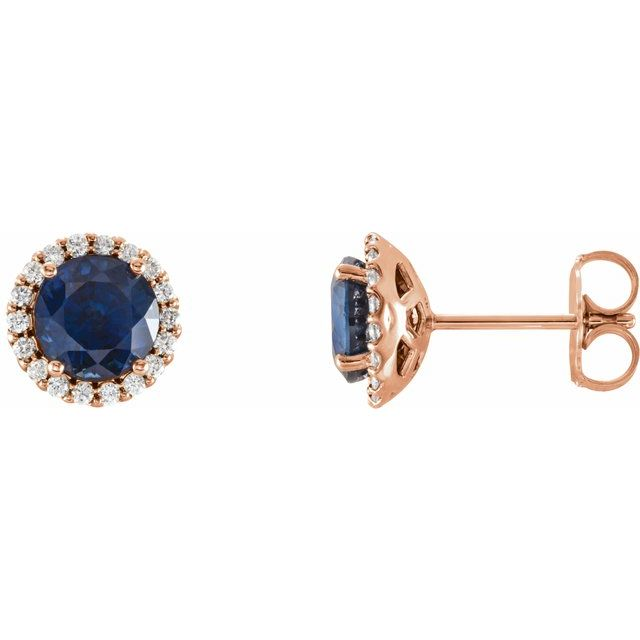 Created Sapphire Earrings in 14 Karat Rose Gold Chatham Lab-Created Genuine Sapphire & 1/6 Carat Diamond Earrings
