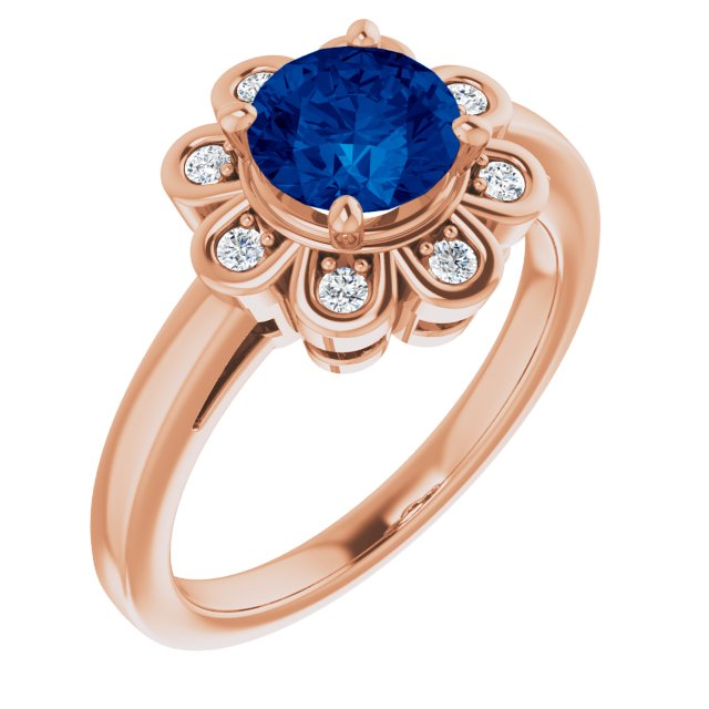 Genuine Chatham Created Sapphire Ring in 14 Karat Rose Gold Chatham Lab-Created Genuine Sapphire & 1/8 Carat Diamond Ring