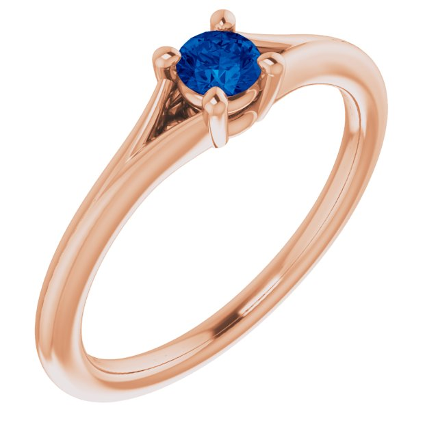 Genuine Chatham Created Sapphire Ring in 14 Karat Rose Gold Chatham Lab-Created Genuine Sapphire Youth Solitaire Ring