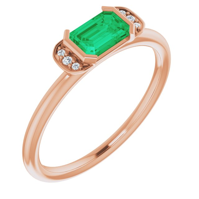 Genuine Chatham Created Emerald Ring in 14 Karat Rose Gold Chatham Lab-Created Emerald & .02 Carat Diamond Ring