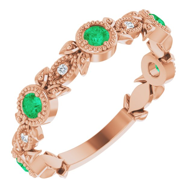 Genuine Chatham Created Emerald Ring in 14 Karat Rose Gold Chatham Lab-Created Emerald & .03 Carat Diamond Ring