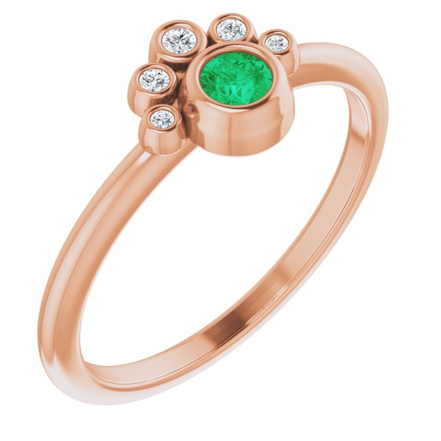 Genuine Chatham Created Emerald Ring in 14 Karat Rose Gold Chatham Lab-Created Emerald & .04 Carat Diamond Ring