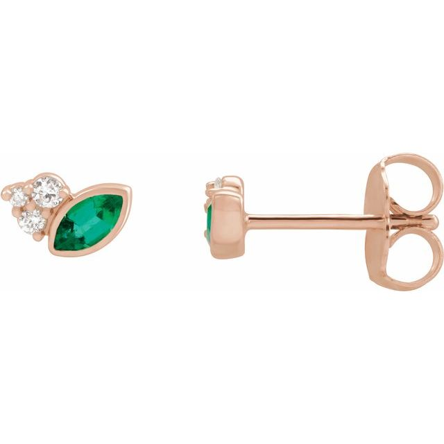 Chatham Created Emerald Earrings in 14 Karat Rose Gold Chatham Lab-Created Emerald & .05 Carat Diamond Earrings