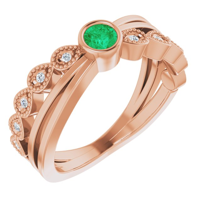 Genuine Chatham Created Emerald Ring in 14 Karat Rose Gold Chatham Lab-Created Emerald & .05 Carat Diamond Ring