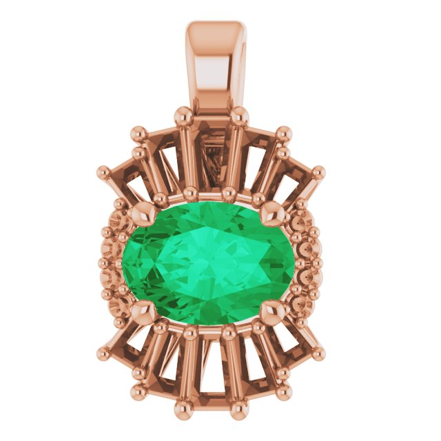 Chatham Created Emerald Pendant in 14 Karat Rose Gold Chatham Lab-Created Emerald & 1/3 Carat Diamond Pendant