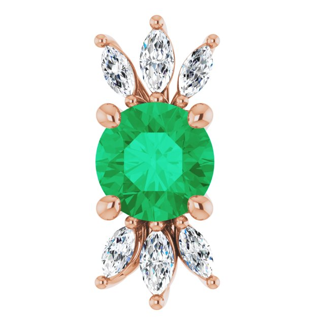 Chatham Created Emerald Pendant in 14 Karat Rose Gold Chatham Lab-Created Emerald & 1/4 Carat Diamond 16-18