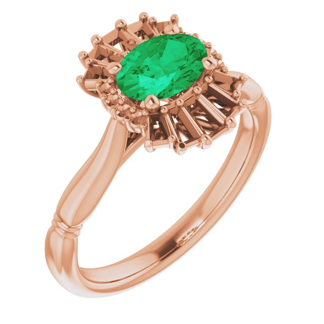 Genuine Chatham Created Emerald Ring in 14 Karat Rose Gold Chatham Lab-Created Emerald & 1/4 Carat Diamond Ring