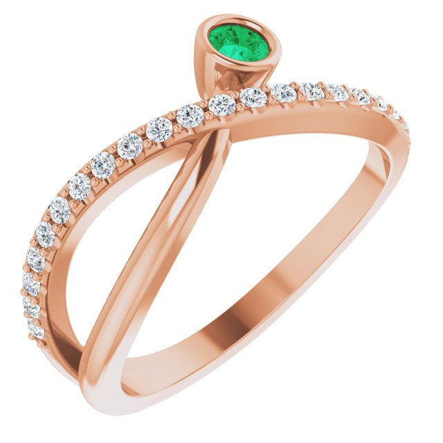 Genuine Chatham Created Emerald Ring in 14 Karat Rose Gold Chatham Lab-Created Emerald & 1/5 Carat Diamond Ring