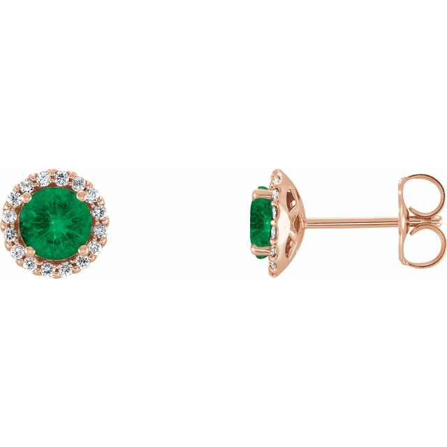 Chatham Created Emerald Earrings in 14 Karat Rose Gold Chatham Lab-Created Emerald & 1/6 Carat Diamond Earrings