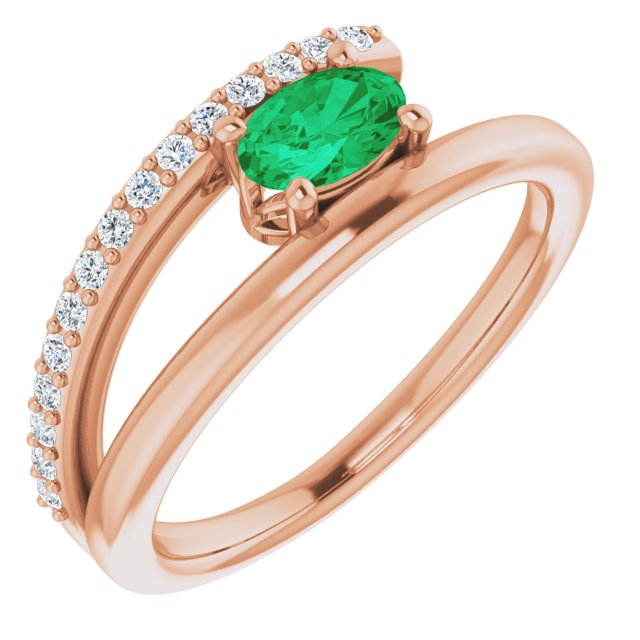 Genuine Chatham Created Emerald Ring in 14 Karat Rose Gold Chatham Lab-Created Emerald & 1/8 Carat Diamond Ring