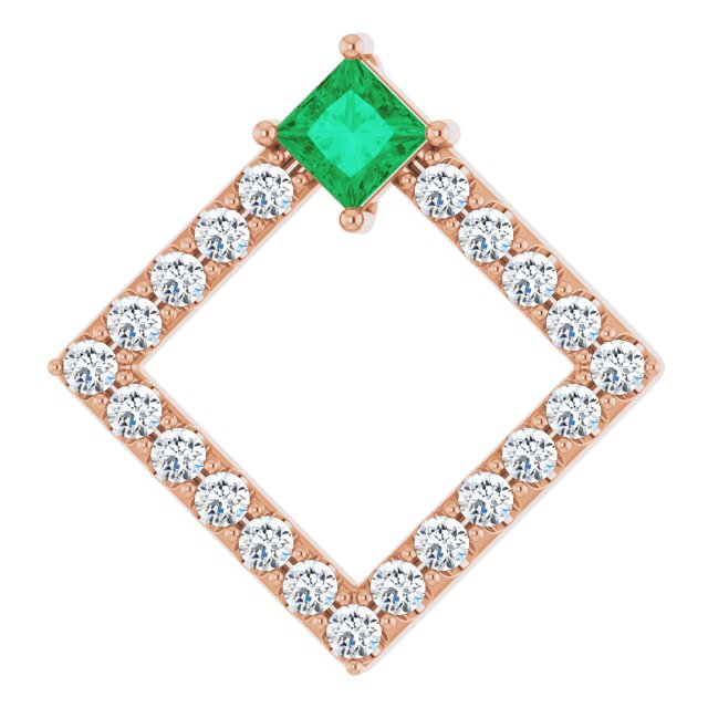 Chatham Created Emerald Pendant in 14 Karat Rose Gold Chatham Lab-Created Emerald & 3/8 Carat Diamond Pendant