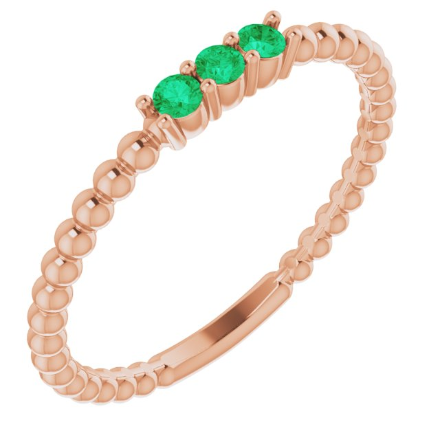 Genuine Chatham Created Emerald Ring in 14 Karat Rose Gold ChathamLab-Created Emerald Beaded Ring