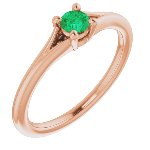 Genuine Chatham Created Emerald Ring in 14 Karat Rose Gold Chatham Lab-Created Emerald Youth Solitaire Ring