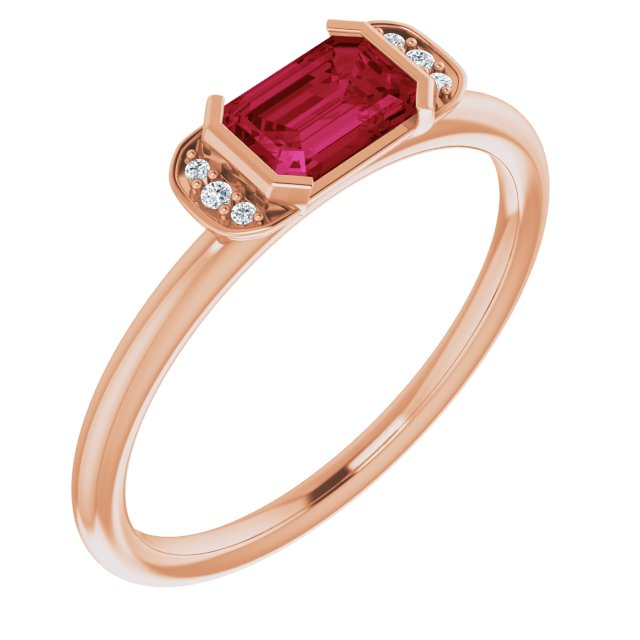 Chatham Created Ruby Ring in 14 Karat Rose Gold Chatham Lab-Created Ruby & .02 Carat Diamond Ring