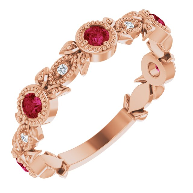 Chatham Created Ruby Ring in 14 Karat Rose Gold Chatham Lab-Created Ruby & .03 Carat Diamond Ring