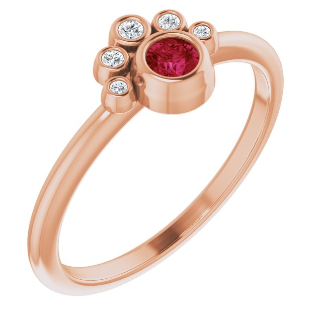 Chatham Created Ruby Ring in 14 Karat Rose Gold Chatham Lab-Created Ruby & .04 Carat Diamond Ring