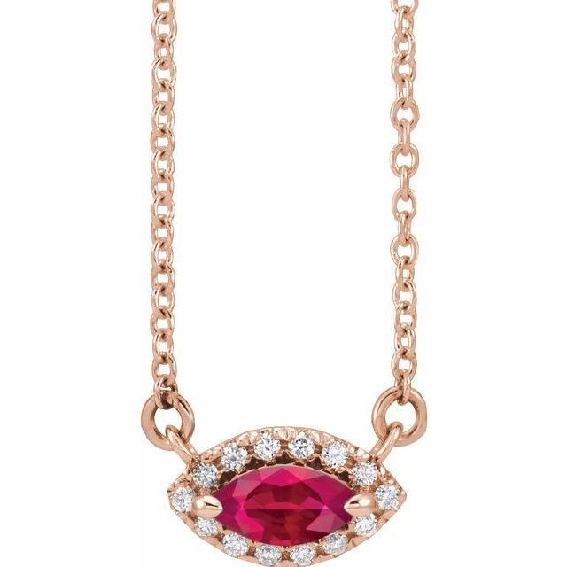 Chatham Created Ruby Necklace in 14 Karat Rose Gold Chatham Lab-Created Ruby & .05 Carat Diamond Halo-Style 16