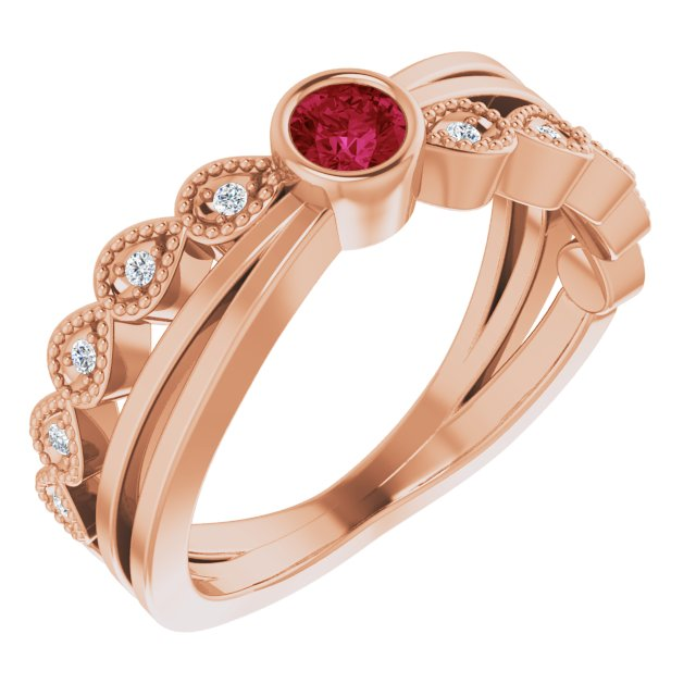 Chatham Created Ruby Ring in 14 Karat Rose Gold Chatham Lab-Created Ruby & .05 Carat Diamond Ring