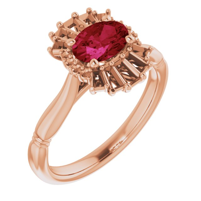 Chatham Created Ruby Ring in 14 Karat Rose Gold Chatham Lab-Created Ruby & 1/4 Carat Diamond Ring