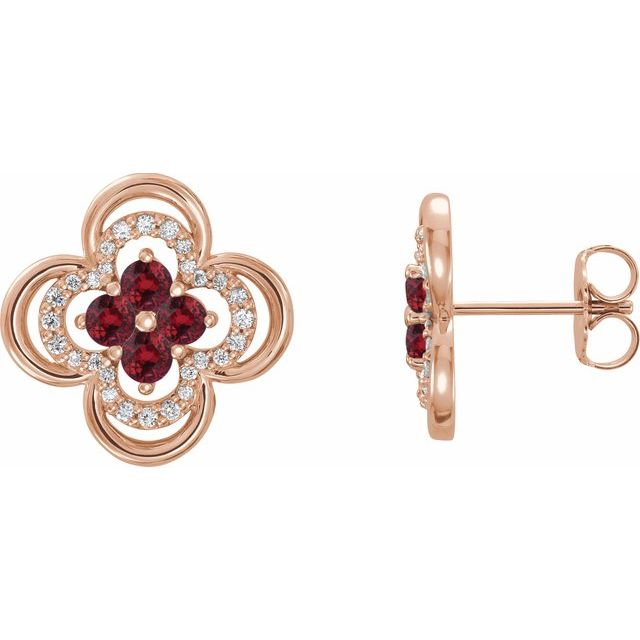 Chatham Created Ruby Earrings in 14 Karat Rose Gold Chatham Lab-Created Ruby & 1/5 Carat Diamond Clover Earrings