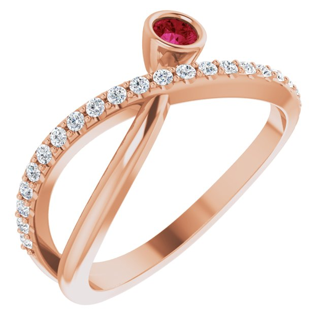 Chatham Created Ruby Ring in 14 Karat Rose Gold Chatham Lab-Created Ruby & 1/5 Carat Diamond Ring