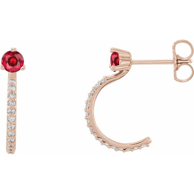 Chatham Created Ruby Earrings in 14 Karat Rose Gold Chatham Lab-Created Ruby & 1/6 Carat Diamond Hoop Earrings