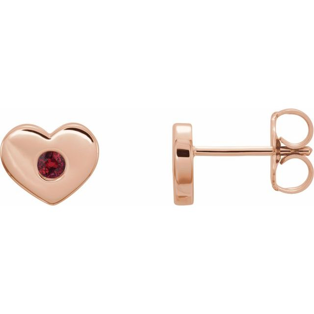 Chatham Created Ruby Earrings in 14 Karat Rose Gold Chatham Lab-Created Ruby Heart Earrings